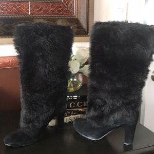 Sam Edelman Black Fur and Suede Boots, Sz 9